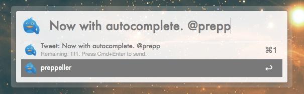 AlfredTweet Auto Complete